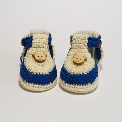 Sandaletti blu e panna