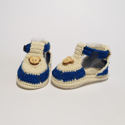Blue and cream baby sandals