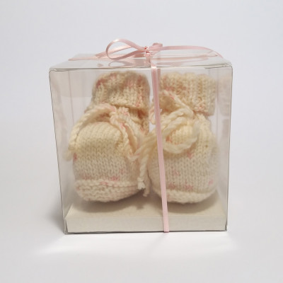 Cream and pink classic baby shoes
