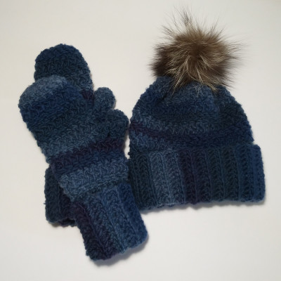 Blue hat and gloves
